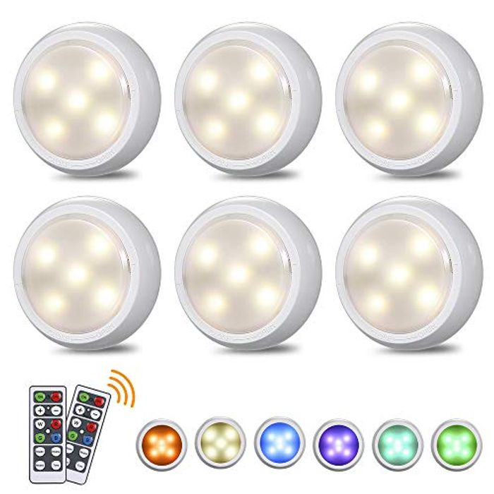 Battery Operated Wireless LED Cabinet Spot Lights, 6 Pack with £8 off Coupon