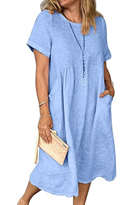 Women's Summer Casual Ethnic Loose Cotton Linen Sun Dresses - Only £3.39!