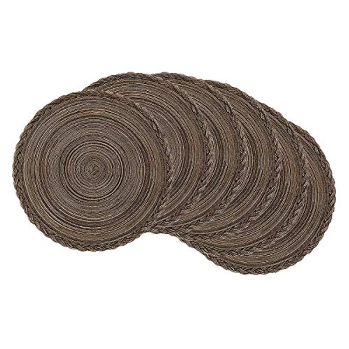 Pre Order - Pauwer Set of 6 Heat Resistant Woven Round Table Mats - 38cm