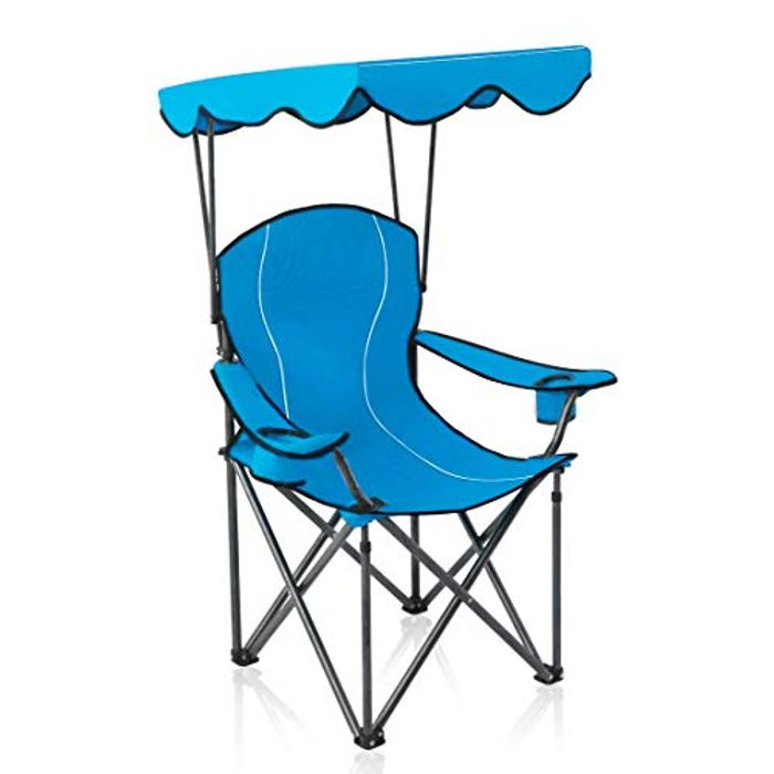 DEAL STACK - ALPHA CAMP Folding Camp Chair with Shade, Blue + Code