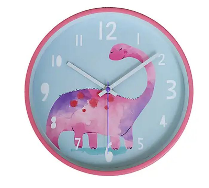 Pink Dinosaur Clock at Dunelm