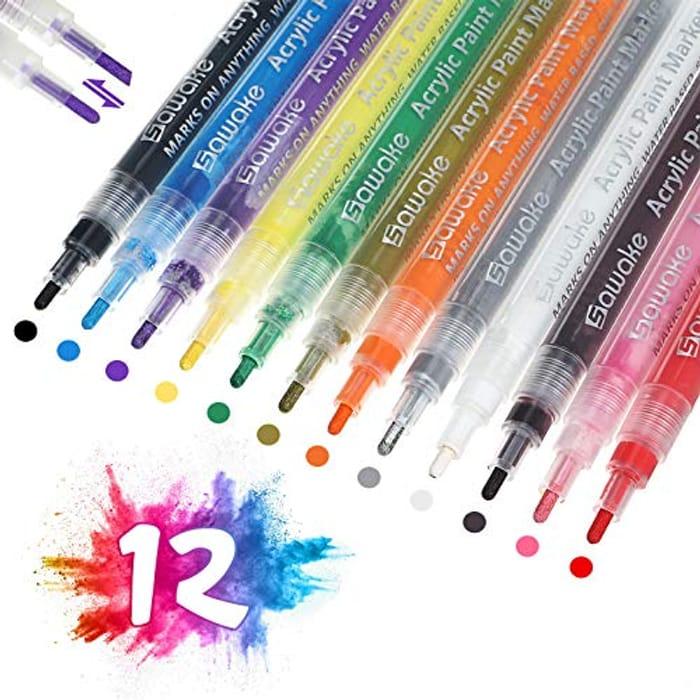 SAWAKE 12 Colour Acrylic Paint Pens