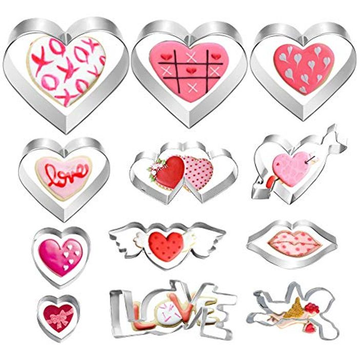 12 Pcs Stainless Steel Heart Cookie Cutter Set