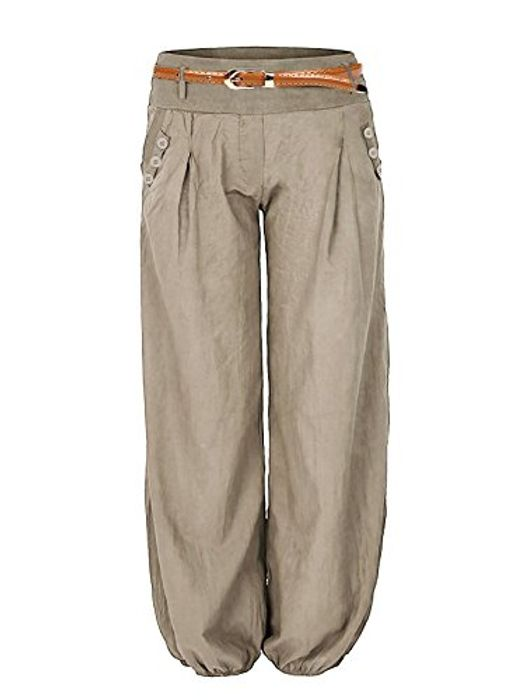 N\C Women's Casual Full Length Harem Trouser Pant with Belt (Other Colours Also)
