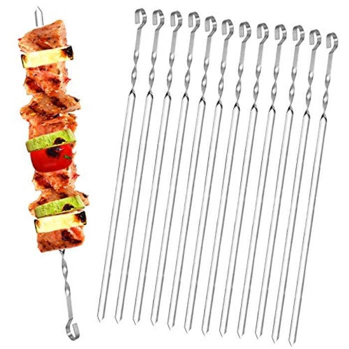 Homealexa 20pcs Stainless Steel BBQ Kebab Meat Skewers Set
