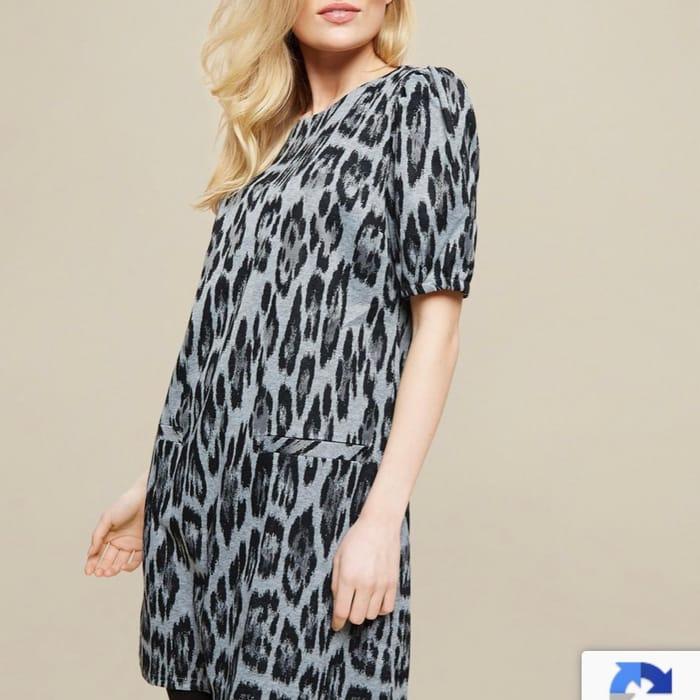 Cheap Grey Leopard Print Tunic Top
