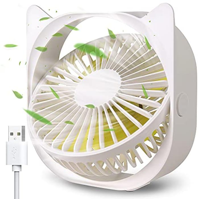 DEAL STACK - USB Desk Fan, Portable Mini Desk Fan 3 Speeds + 25% Coupon