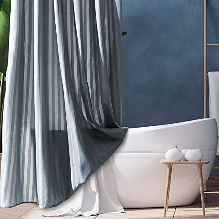 DEAL STACK - Fabric Shower Curtain, Shadow Stripes Shower Curtain + 10% Coupon