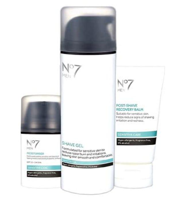 No7 Men Sensitive Skin Collection £14.95 save £12.90 worth £27.85