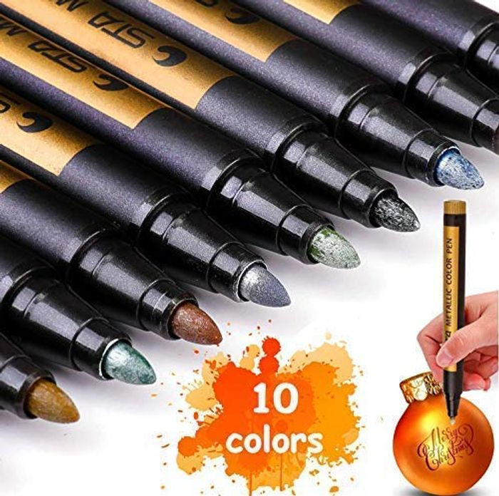 Acrylic Paint Markers Pens for Painting, Stone, Glass Etc - 10 Metallic Colors