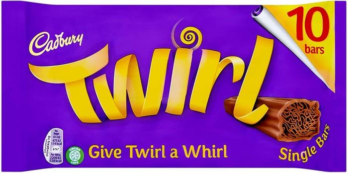 Cadbury Twirl Chocolate Single Bar, Multipack of 10