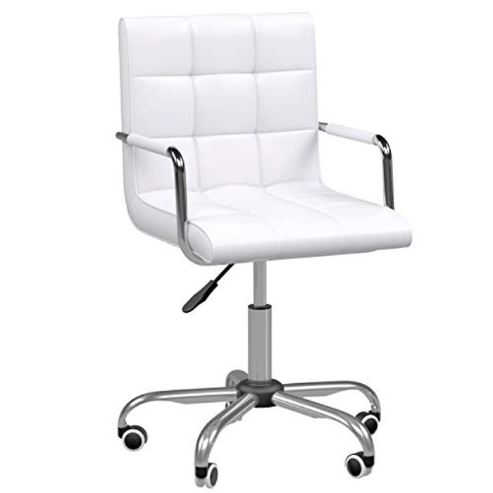 HOMCOM mid Back PU Leather Home Office Desk Chair