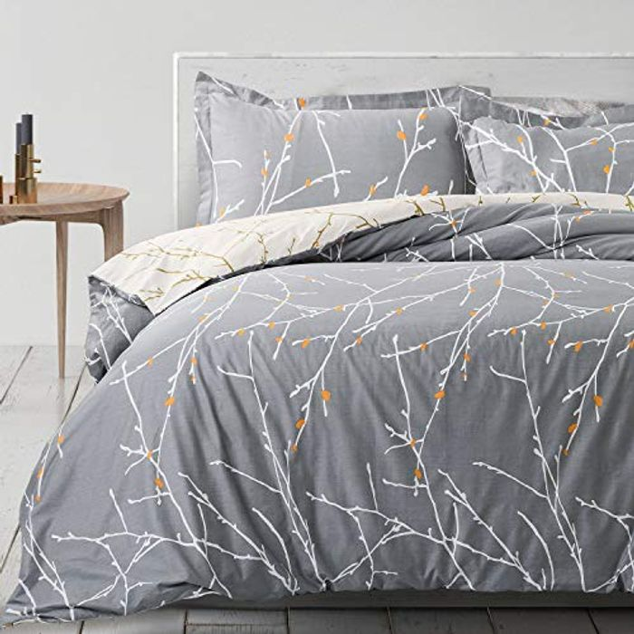 100% Cotton Duvet Cover Set with 2 Pillowcases for £10.79