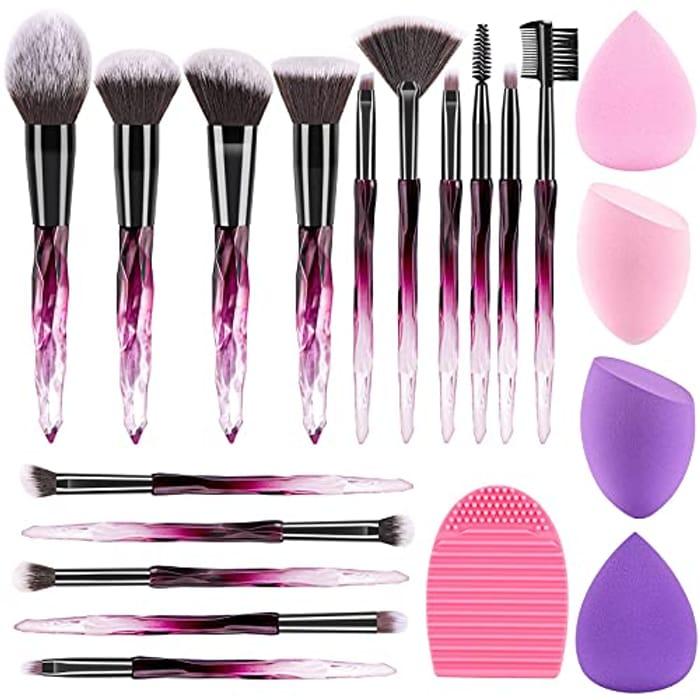 15Pcs Crystal Makeup Brush Set with Makeup Sponge Blender