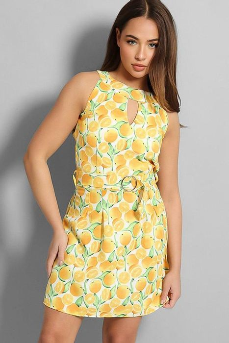 Yellow Choker Neck Oranges Print Linen Blend Midi Dress
