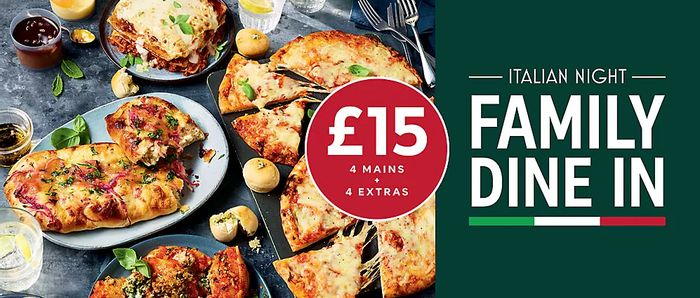 M&S Italian Family Dine in - 4 Mains + 4 Extras for £15 at Marks & Spencer