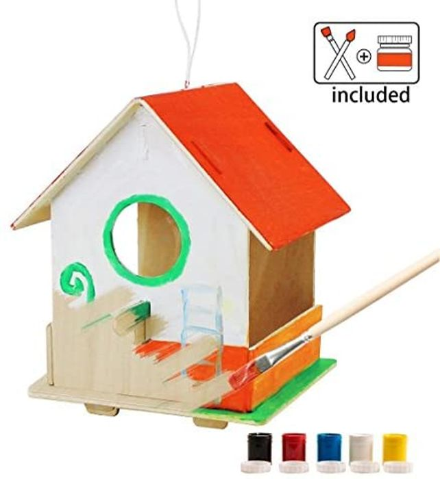 Make Your Own Birdhouse with 2 Paintbrushes + Paint