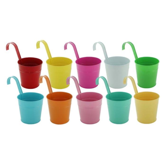 Set of 10 Coloured Metal Hanging Flower Pots
