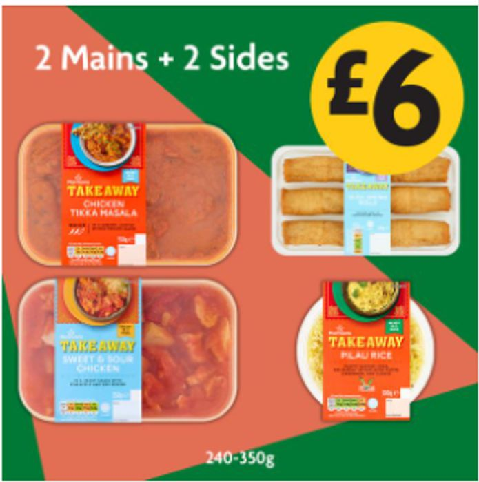 Morrisons Takeaway Indian & Chinese Meal Deal - 2 Mains + 2 Sides - £6