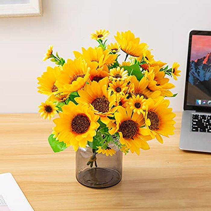 13 Heads Artificial Sunflower Bouquets, Silk Fake Flowers - Only £3.99!