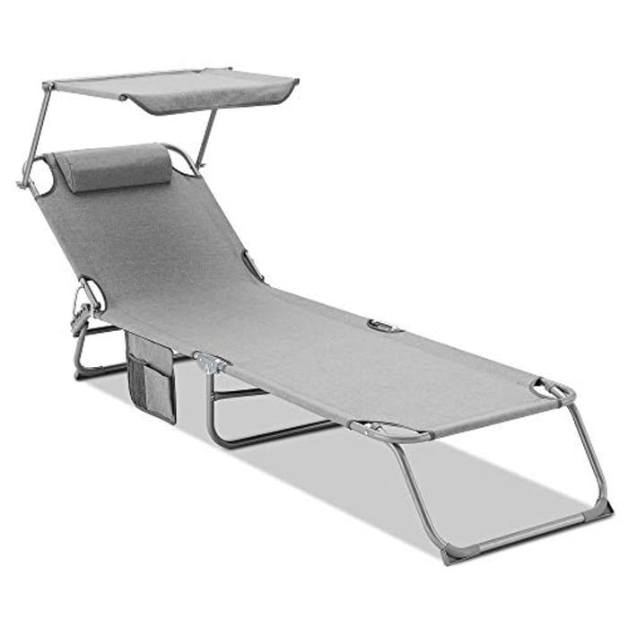 Folding Sun Lounger/Adjustable Back and Leg Rests/Adjustable Sunshade