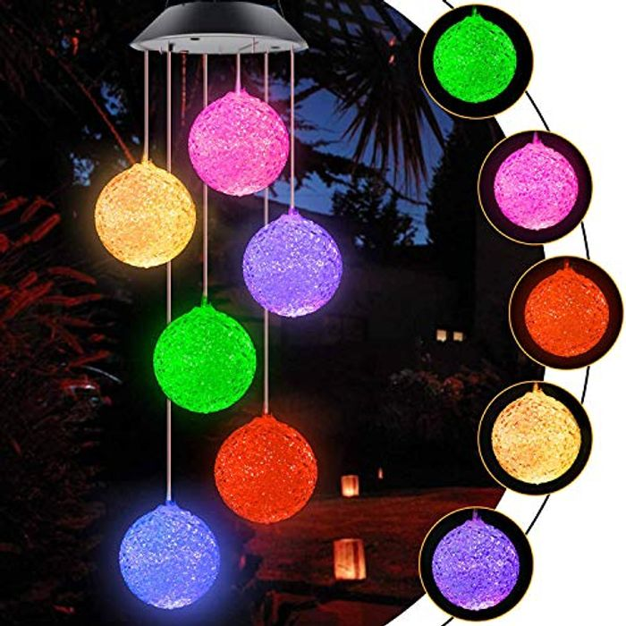 Solar Wind Chime Light Spiral Spinner Color Changing Lamp