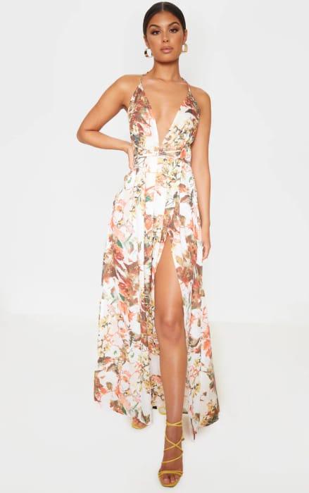 White Floral Halter Neck Dress £4 Off at PLT