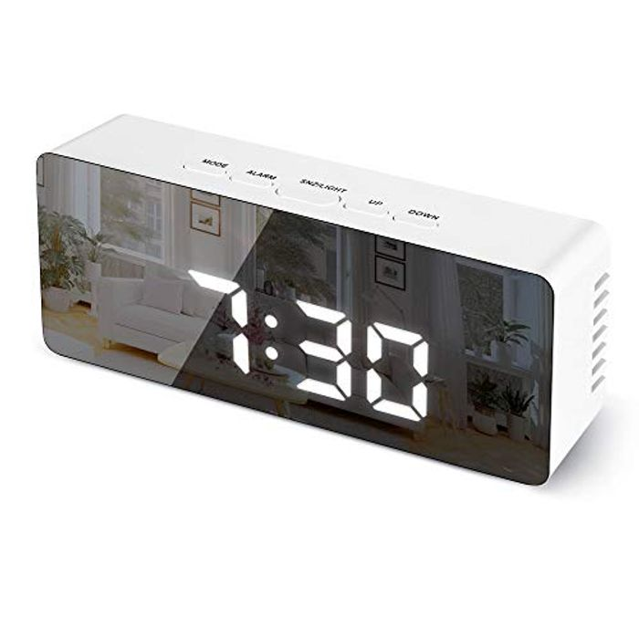 Digital Alarm Clock with Snooze, Time, Temperature - USB/Battery Powered