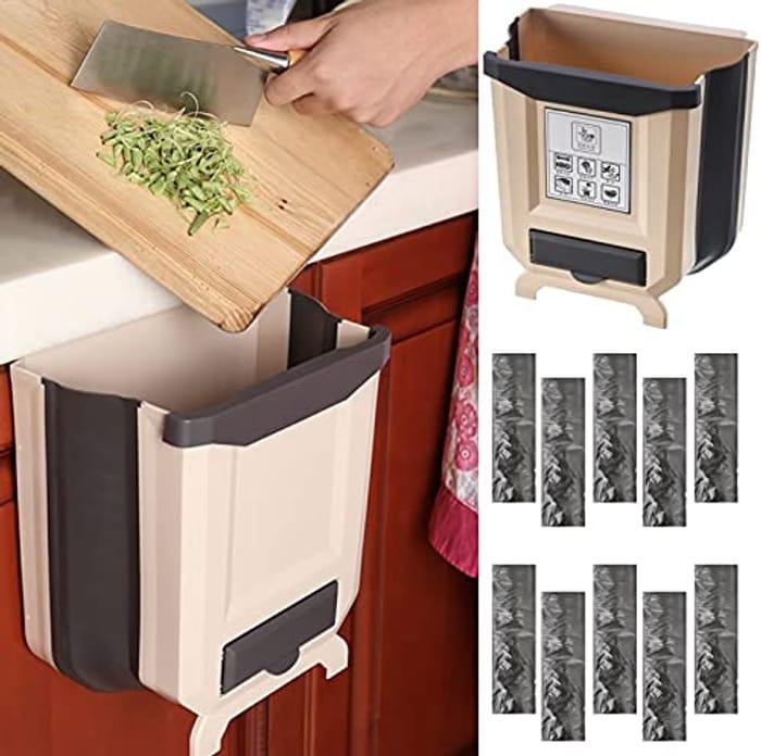 8L Foldable Hanging Bin + 10 Rolls Bin Bags