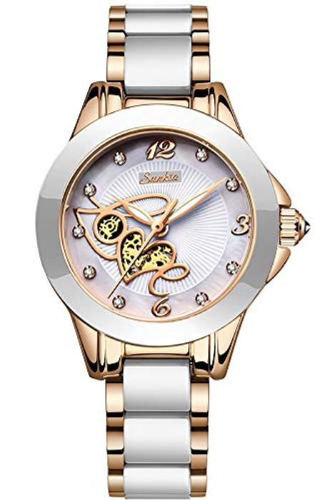 70% Voucher- Womens Rose Gold Ceramics Wrist Watch