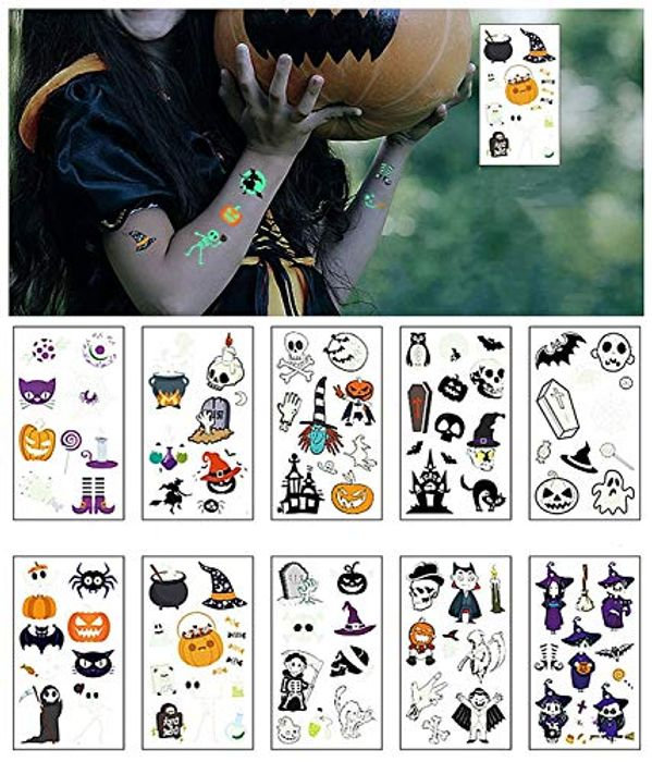 Pre-Order 10 Sheets Glow in the Dark Halloween Temporary Tattoos