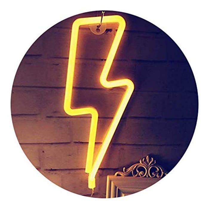 QiaoFei Neon Light,LED Lightning Sign Shaped Decor Light - Only £6.90!