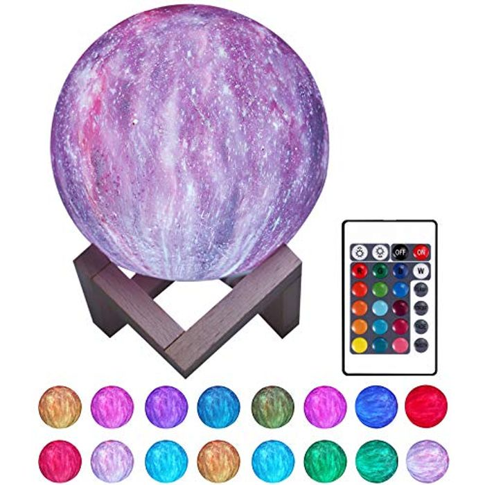 3D Printed Sky Light Lamp LED Moon Light 16 Colors with Remote Control