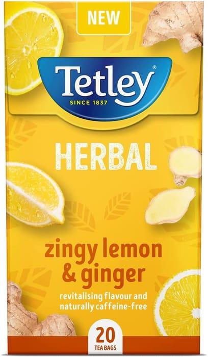 Tetley Zingy Lemon & Ginger, Box of 20 Teabags