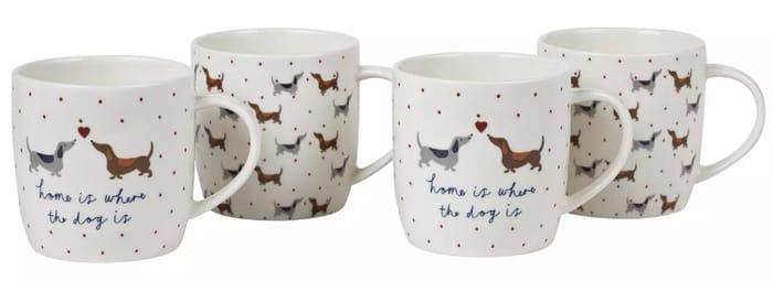 Argos Home Set of 4 Spotty Dachshund Porcelain Mugs - Only £6!