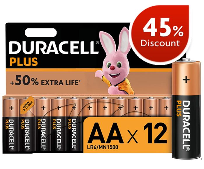 Cheap DURACELL PLUS AA Alkaline Batteries [Pack of 12]