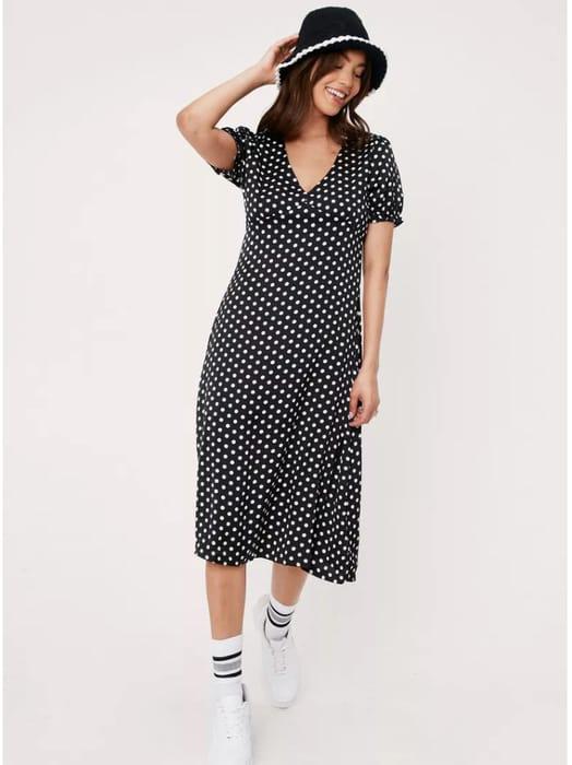 NastyGal Polka Dot Print v Neck Midi Dress