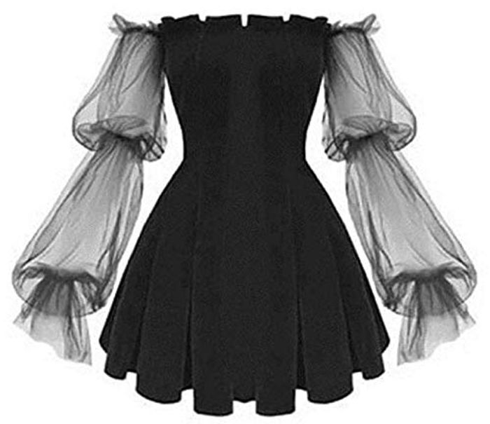 XTR Gothic Dress Vintage off Shoulder Lanter Sleeve with £10 off Coupon