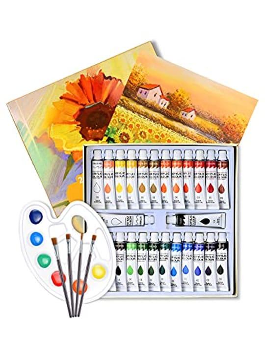 Wetopia 32pcs Acrylic Paint Set - 26 Tubes Paint, 4 Brushes, 1 Palette, 1 Canvas