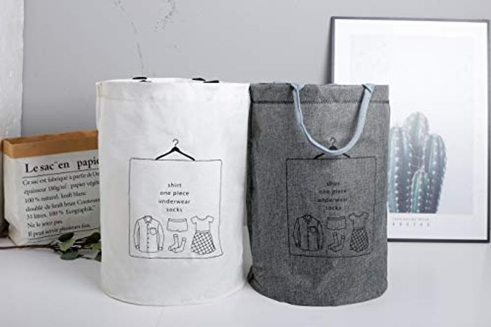 2 Pack Large Waterproof Linen Collapsible Laundry Hampers