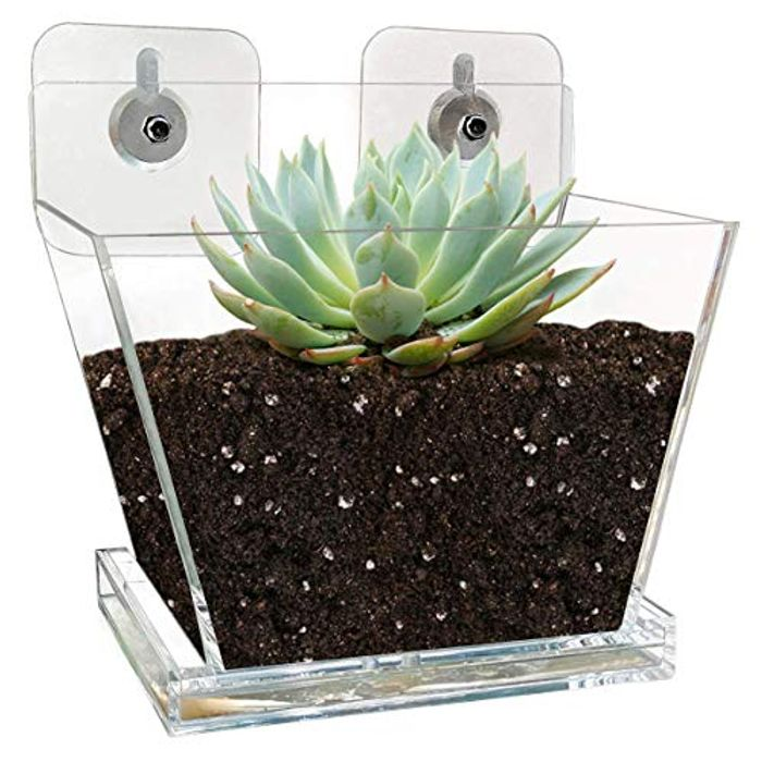 NIUXX Small Flower Pot Planter with Tray - 15 x 10 x 13 cm