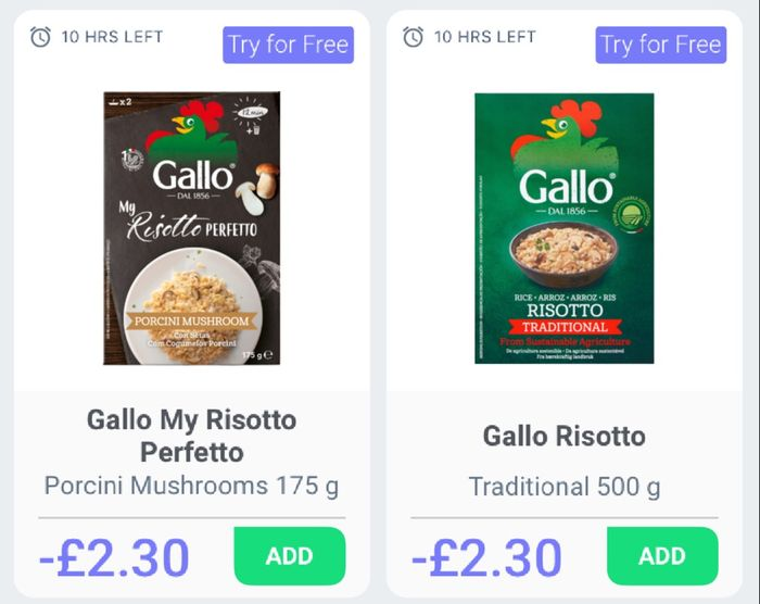 Gallo Risotto. Two Free with Cashback