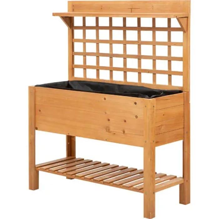 Outsunny 2-Tier Wooden Planter Box