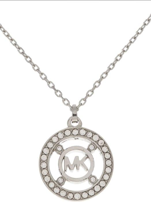 MICHAEL KORS Silver Tone Pendant Necklace