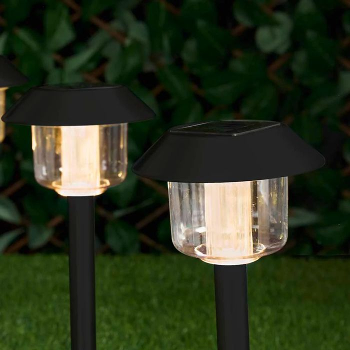 Wilko 4 Pack round Post Garden Solar Light Markers
