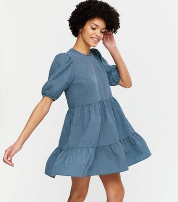 Blue Check Puff Sleeve Smock Mini Dress