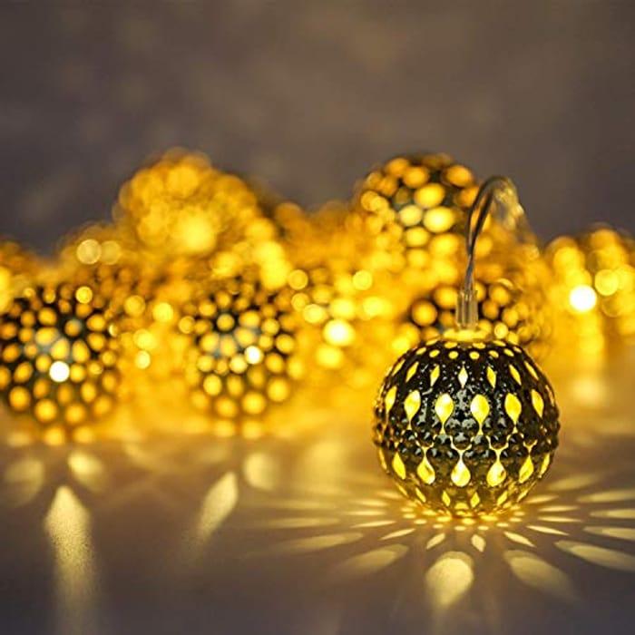 Solar String Lights,16.5ft Outdoor Metal Ball