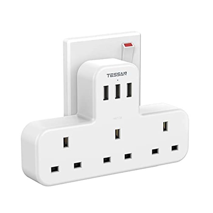3 Way Plug Adapter UK with 3 USB, 13A