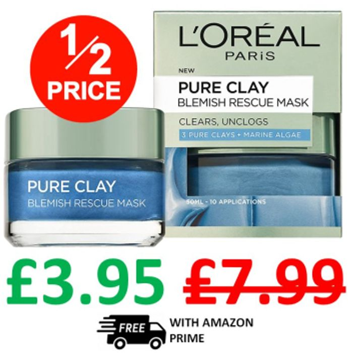 L'Oreal Pure Clay Blemish Rescue Mask - 10 Applications - IDEAL FOR SPOTS!
