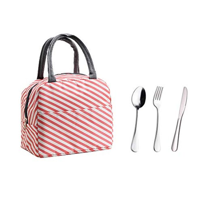Insulated Lunch Bag with 3PCS Stainless Steel Cutlery Pink
